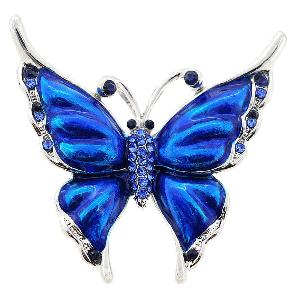 Sapphire Blue Butterfly Brooch Pendant by