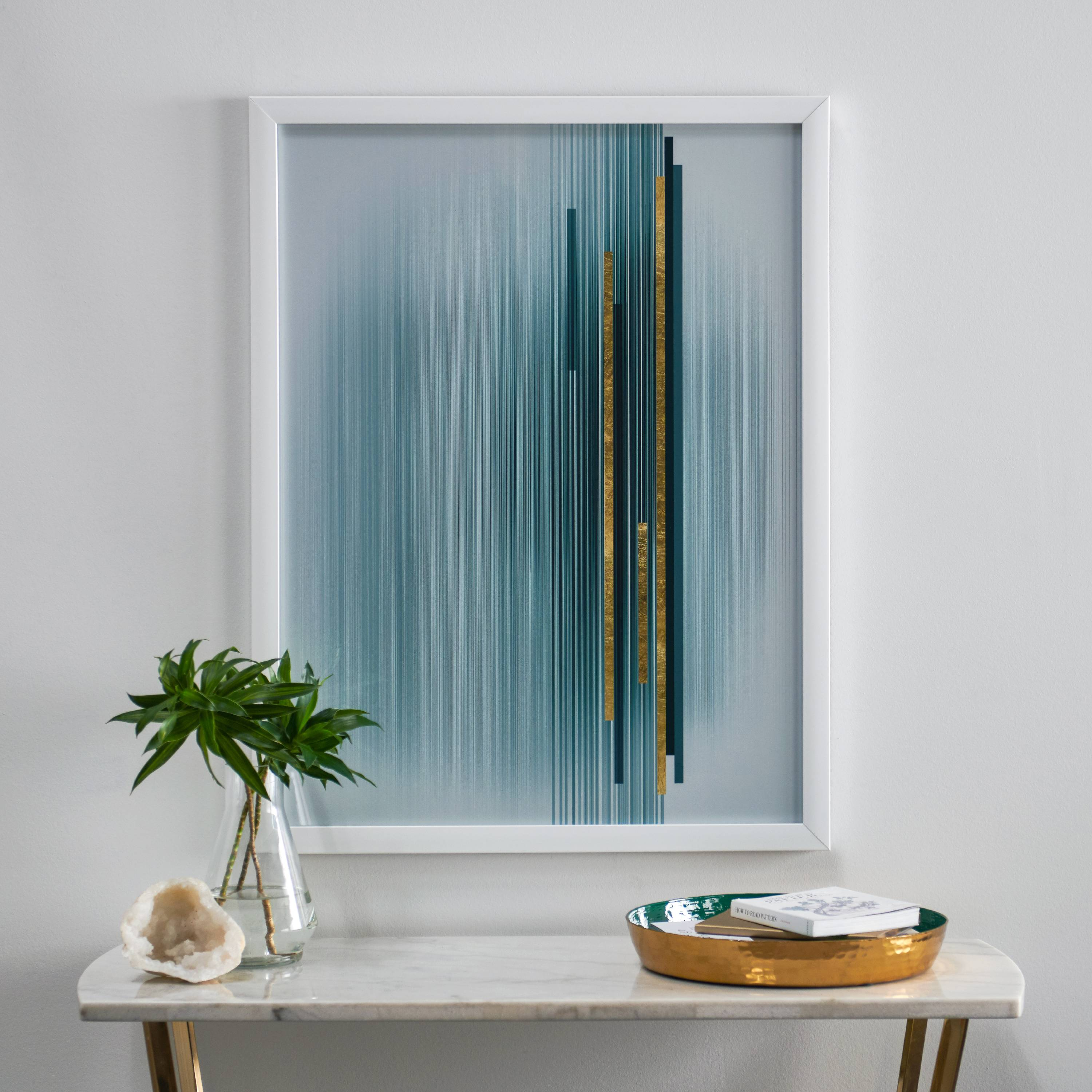 MoDRN Glam Blue and Gold Vertical Lines Wall Art
