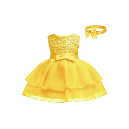 Toddler Girls Lace Bust Bow Waist Princess Dress - Wisteria Color Dress