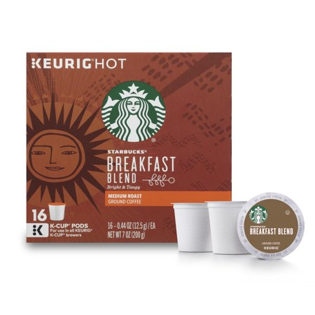 Starbucks Breakfast Blend Medium Roast Single Cup Coffee for Keurig Brewers, 1 Box of 16 (16 Total K-Cup Pods)
