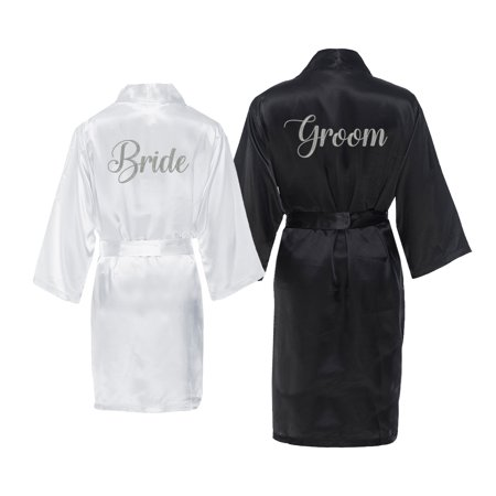 Bride Dragging Groom - Bride and Groom Satin Robe Set with Silver Gray Embroidery for Wedding Day