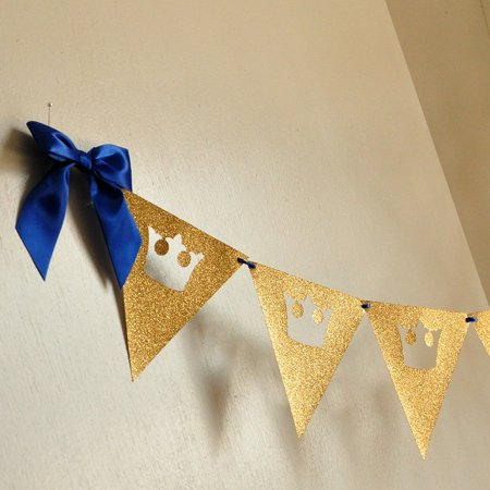 Royal Prince Baby Shower Bunting Banner. Ships in 1-3 Business Days. King Crown Garland. - Lion King Baby Shower Theme