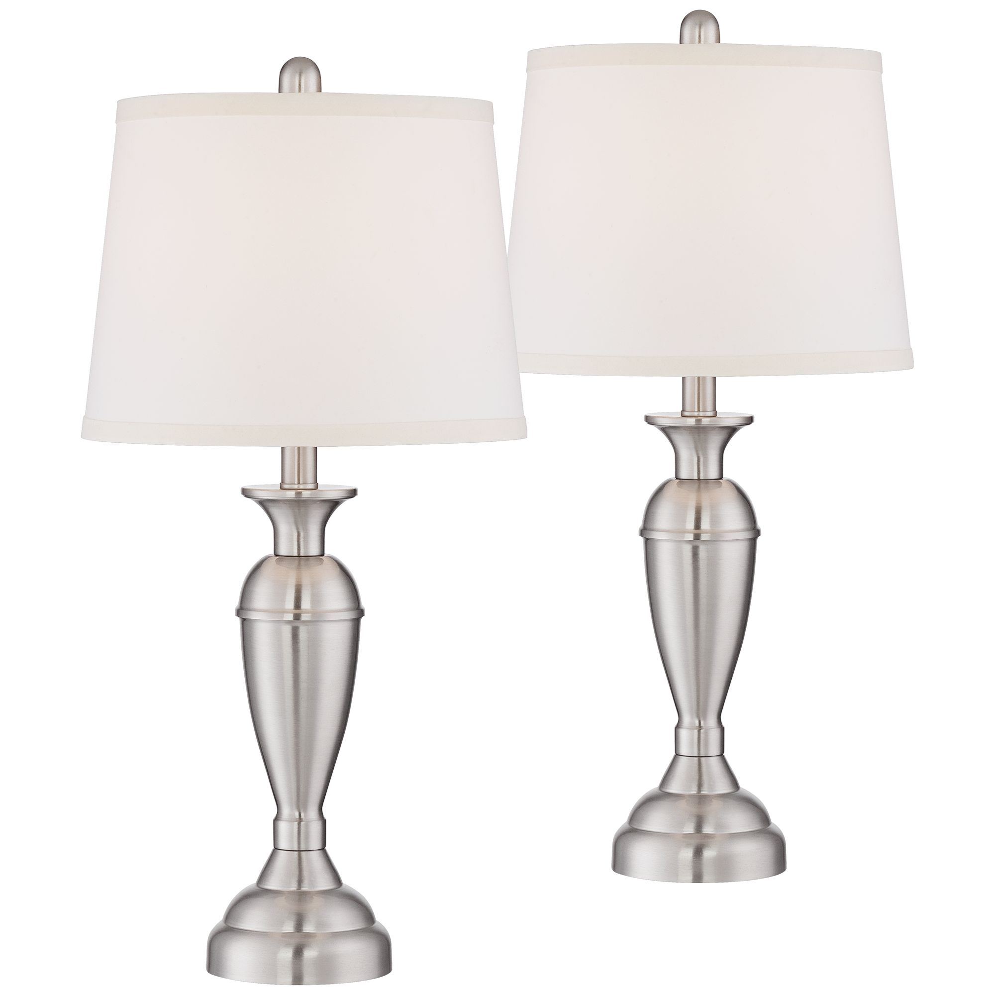 Exceptionnel Regency Hill Modern Table Lamps Set Of 2 Brushed Steel Metal White Drum  Shade For Living Room Family Bedroom Bedside Nightstand   Walmart.com