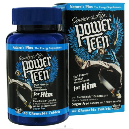 Nature's Plus - Source Of Life Power Teen For Him High Potency Multivitamin Natural Wild Berry - 60 Chewable Tablets