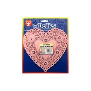 """Hygloss Paper Lace Doilies Heart 8"""" 36pc Pink"""