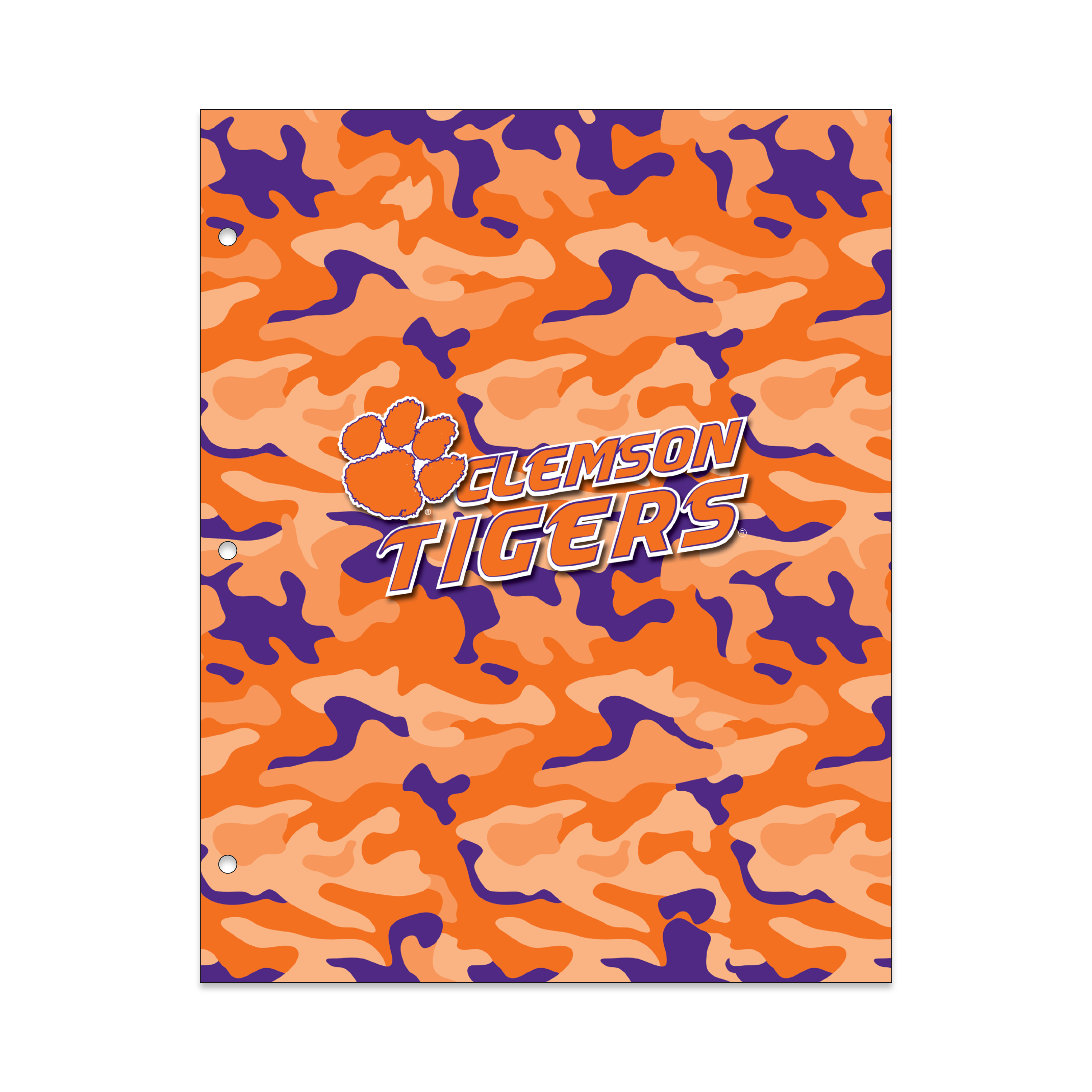 NCAA Clemson Tigers 2 Pocket Portfolio, Three Hole Punched, Fits Letter Size