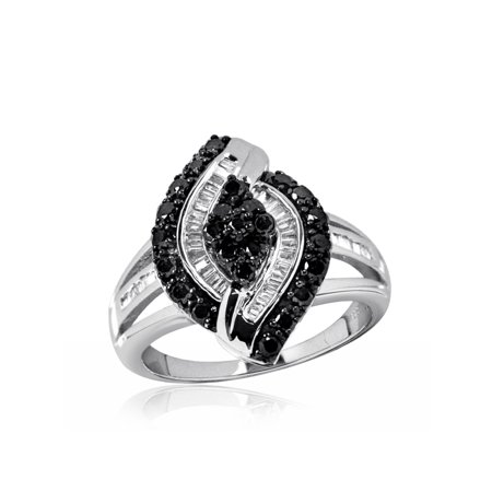 1.00 CTW Round & Baguette cut Black & White Diamond Marquise Shape Sterling Silver Ring (Fancy Marquise Cut Diamond)