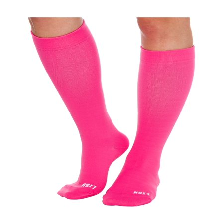 - LISH Plain Jane Wide Calf Plus Size 15-25 mmHg Knee High Compression Socks