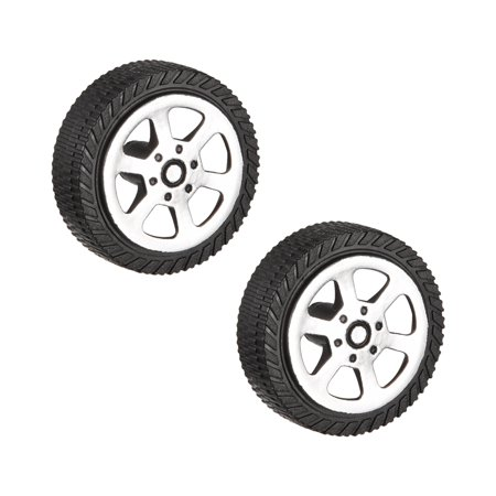 2pcs 302A 30mm Dia 2 Inner Hole Dia 9mm Thick Rubber Toy Car Wheel Black (30mm Holes)