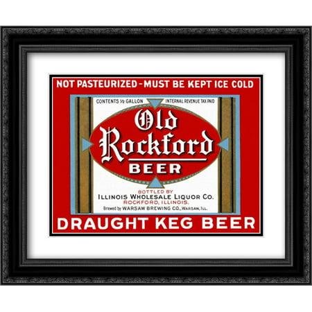 Old Rockford Beer 2x Matted 24x20 Black Ornate Framed Art Print by Vintage Booze Labels Carling Black Label Beer