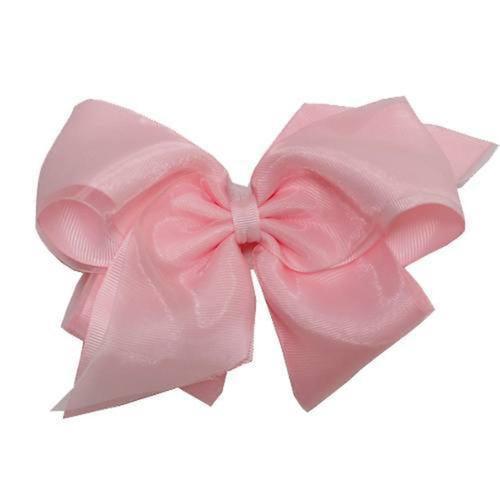 wee ones large pink grosgrain sheer overlay hair bow