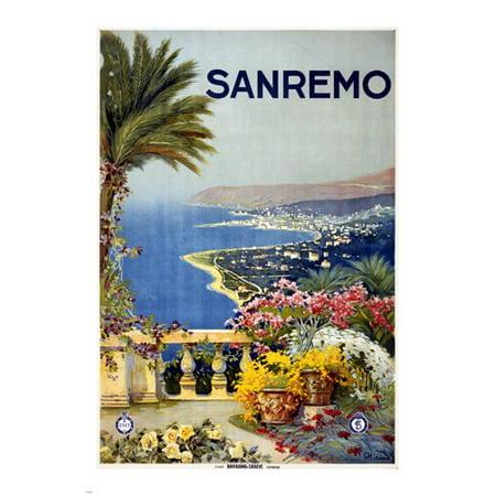San Remo Italy Travel Poster 1920 24X36 Lush Flowers Mediterranean (Italian Flowers)