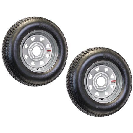 2-Pack Mounted Trailer Tire and Rim ST175/80D13 175/80 D 13 5-4.5 Silver Spoke