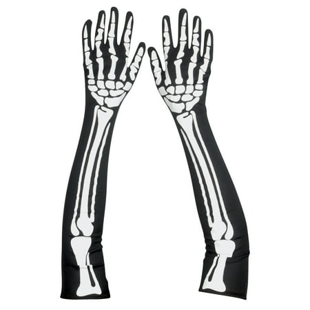 Star Power Spooky Halloween Skeleton Bones Gloves, Black White, One Size