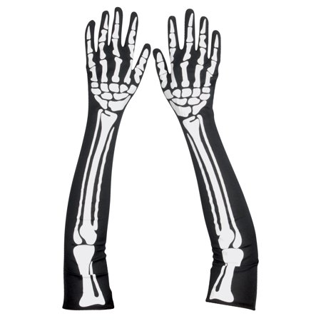 Star Power Spooky Halloween Skeleton Bones Gloves, Black White, One Size](Spooky Ideas For A Halloween Party)
