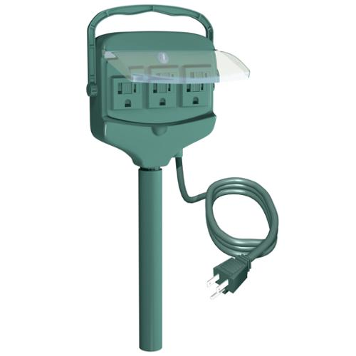 Westinghouse Outdoor Green 3-Outlet Ground Stake with Hinged Outlet Cover