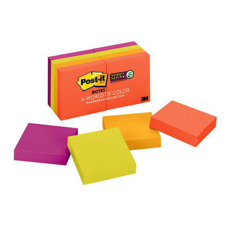 Post-it Super Sticky Notes 8 Pack, 1.8in x 1.8in, Marrkaesh Colors, 90 Sheets per Pad