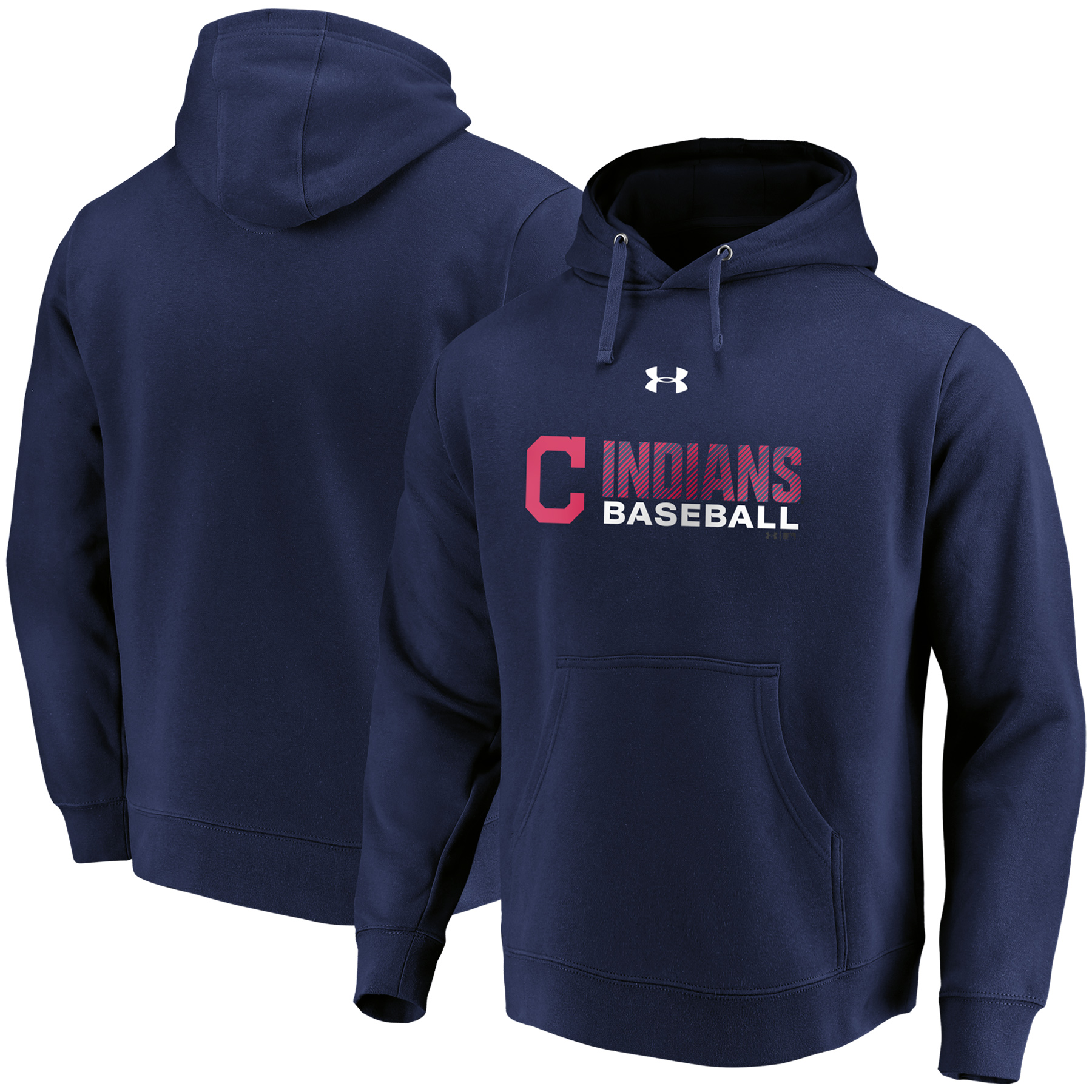Cleveland Indians Under Armour Commitment Stack Pullover Hoodie - Navy