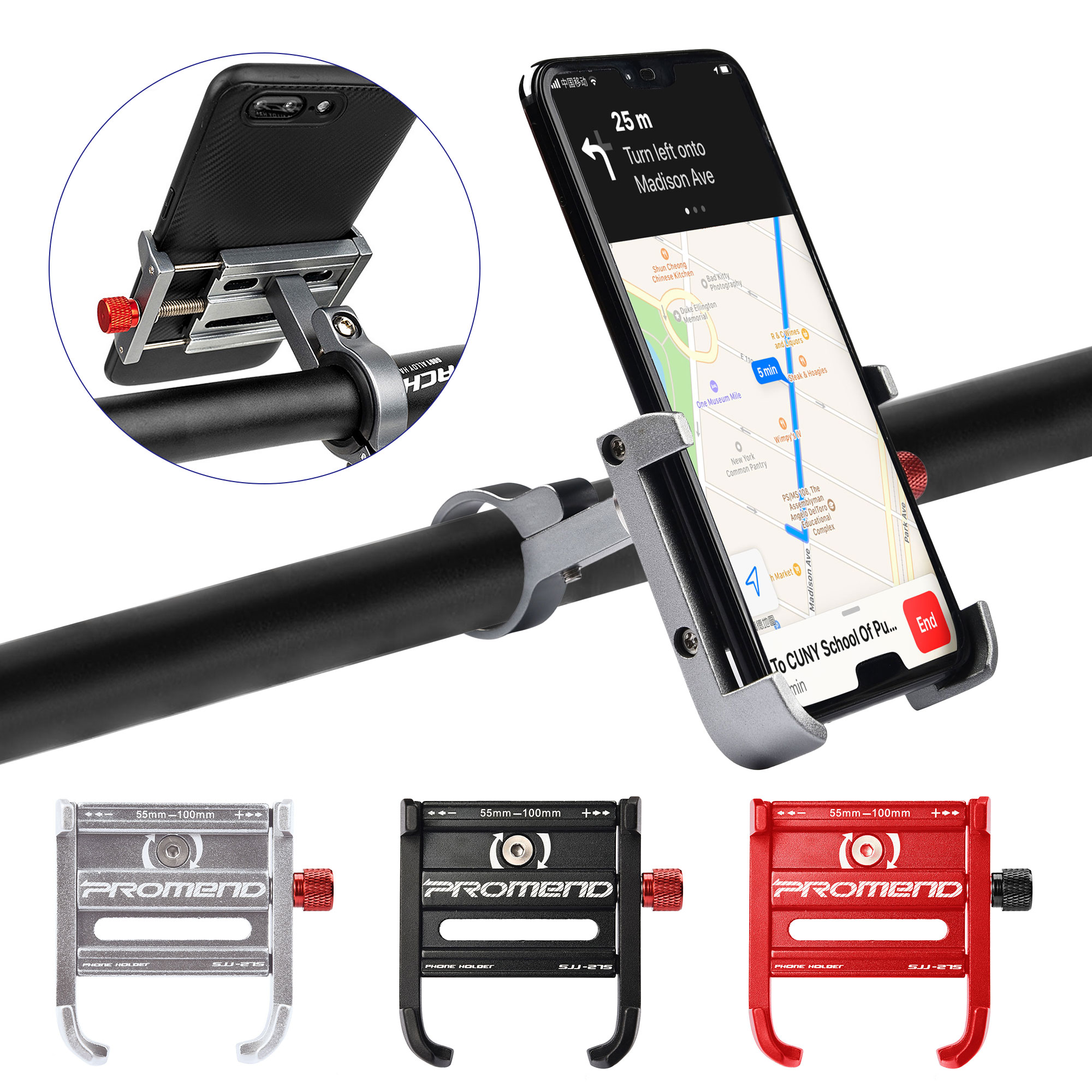Aluminum Motorcycle Bicycle Handlebar Cellphone GPS Holder Mount Titanium