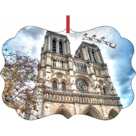 Santa and Sleigh Riding Over The Notre Dame Cathedral - Rosie Parker Inc. TM Double-Sided Flat Benelux-Shaped Holiday Tree Ornament Made in the USA - Halloween Tree Notre Dame