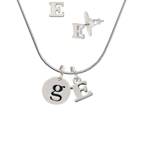 Disc 1/2'' Initial - g - - E Initial Charm Necklace and Stud Earrings Jewelry Set