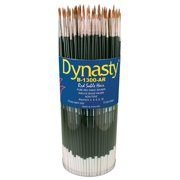 Dynasty B-1300AR Round Red Sable Hair Long Hardwood Handle Artists Paint Brush Set, Assorted Size, Black, Set of 72
