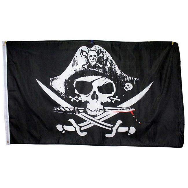 7174 Super Polyester Dead Mans Chest Pirate Flag Indoor Outdoor, 3 x 5 inch