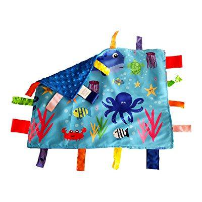 lovey security bJy blanket sensory tag toy educational ocean animals the learning lovey