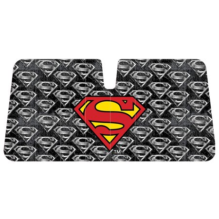 Superman Colored Shield Logo with Silver Shields in Background DC Comics Comics Superhero Character Car Truck SUV Front Windshield Sunshade - Accordion Style
