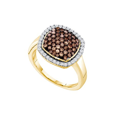 10kt Yellow Gold Womens Round Cognac-brown Colored Diamond Square Cluster Ring 7/8 Cttw