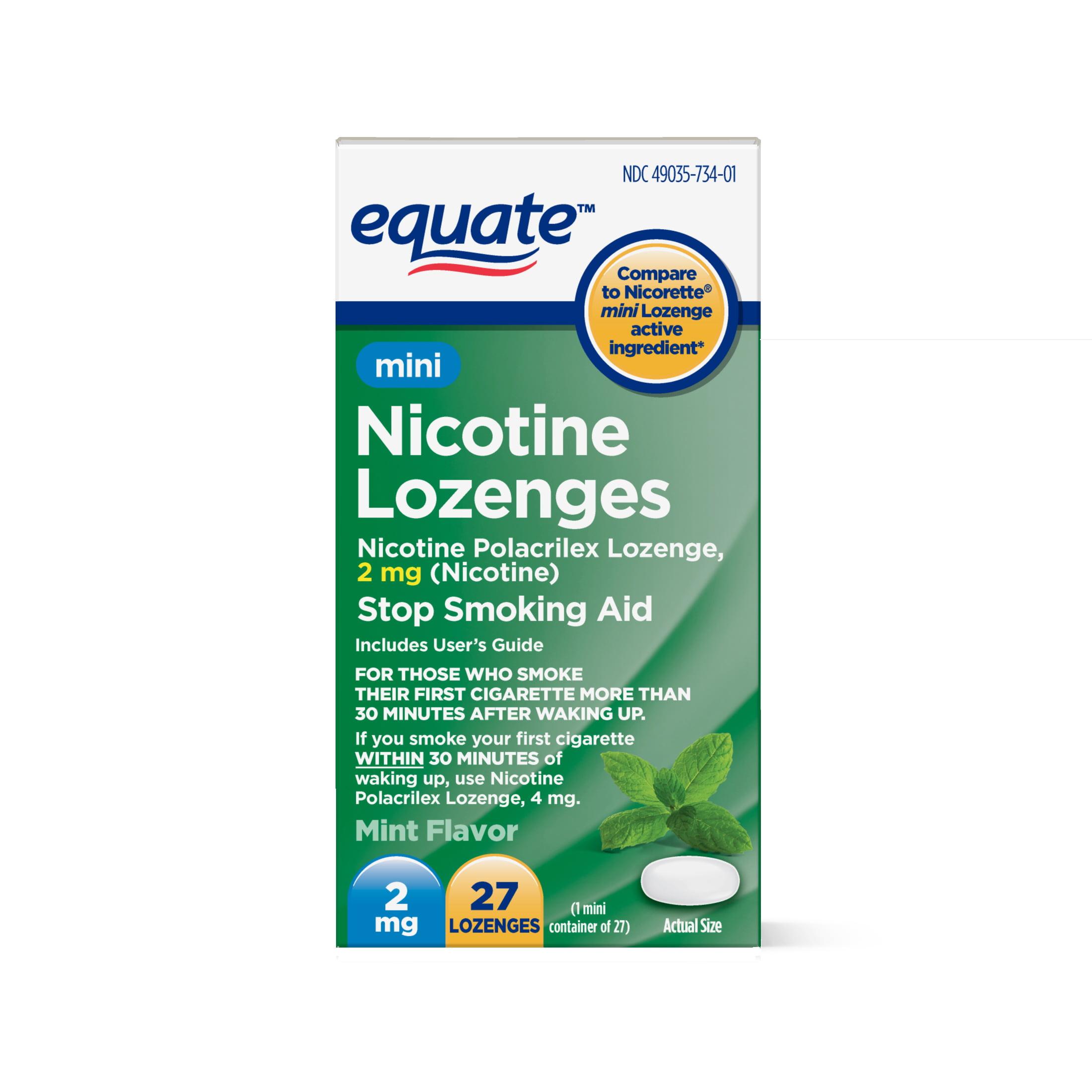 Equate Mini Nicotine Lozenges, Mint Flavor, 2 mg, 27 Count