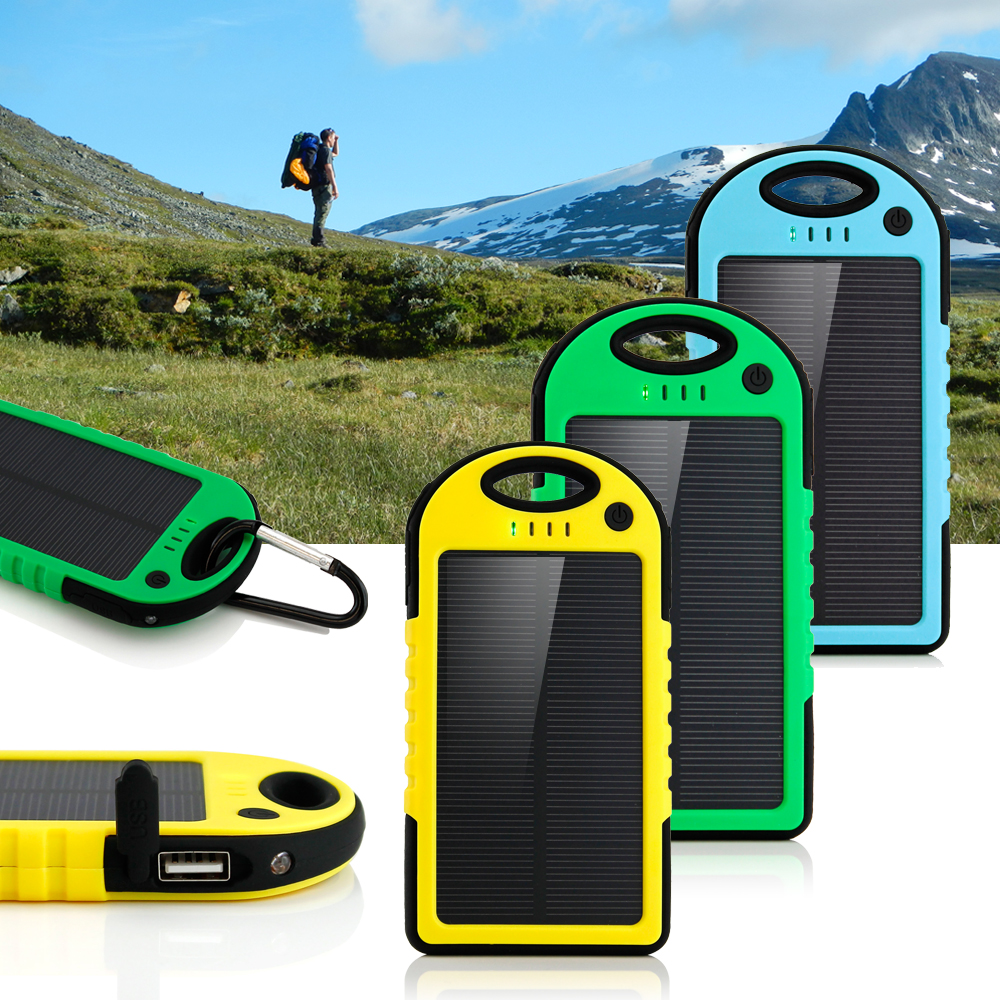 5000mAh Portable Shockproof Waterproof Solar Charger Battery Panal Double USB Power Bank for ...