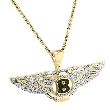 Bentley Car Logo Pendant Iced Out Sterling Silver Simulated Diamonds 24