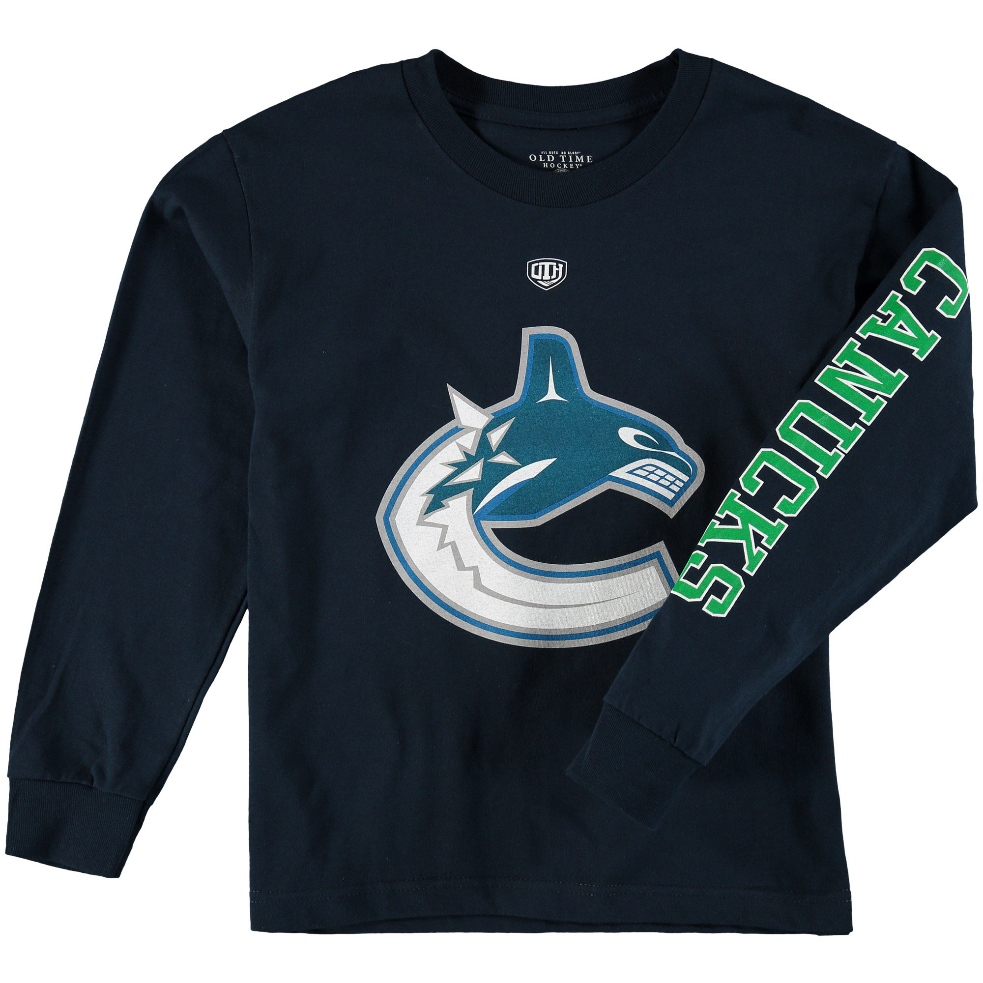 Vancouver Canucks Old Time Hockey Youth Two Hit Long Sleeve T-Shirt Blue by Old Time Hockey