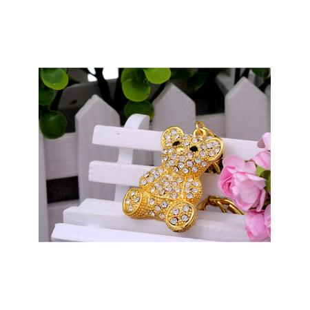 Gold Tone Iced Bling Crystal Rhinestone Cuddle Teddy Bear Hook Clip Key (Chain Teddy)