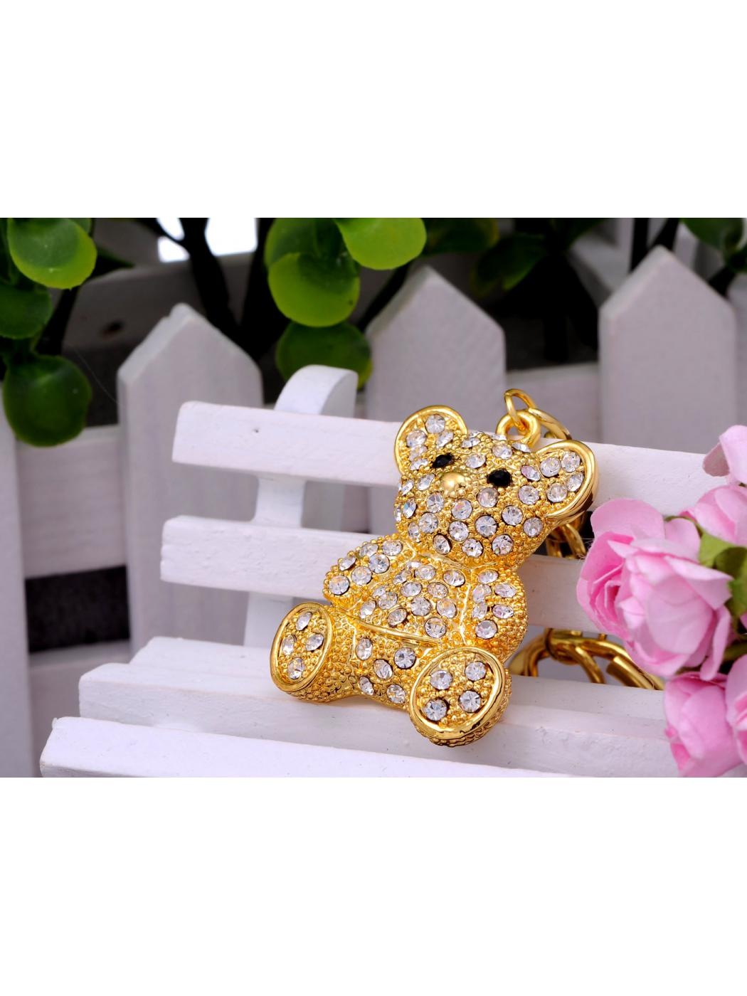 Gold Tone Iced Bling Crystal Rhinestone Cuddle Teddy Bear Hook Clip Key Chain