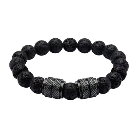 - Mens Stainless Steel Black IP and Black Lava Beads Bracelet 8 1/2 inch long