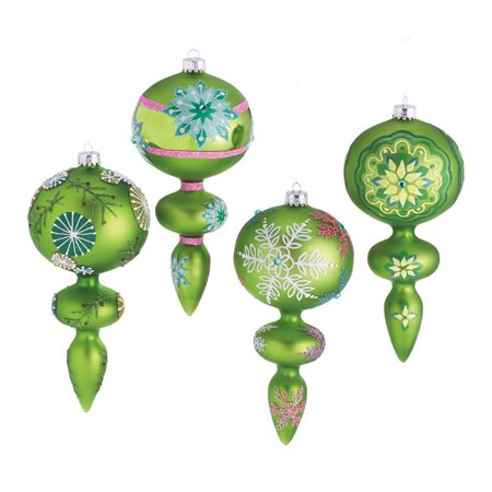 Set of 4 Dazzling Green Snowflake Design Glass Finial Christmas Ornaments 7