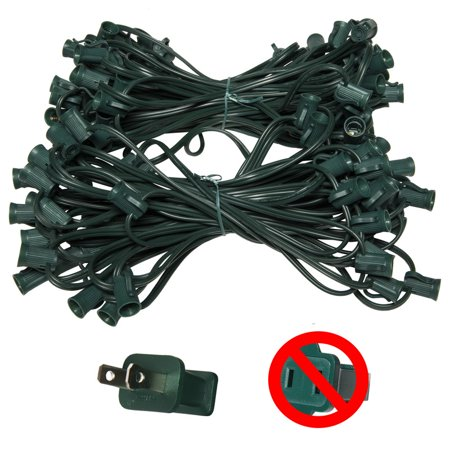 Holiday Lighting Outlet C7 Christmas Light String, Patio Event Lighting, 100', Green Cord, 12