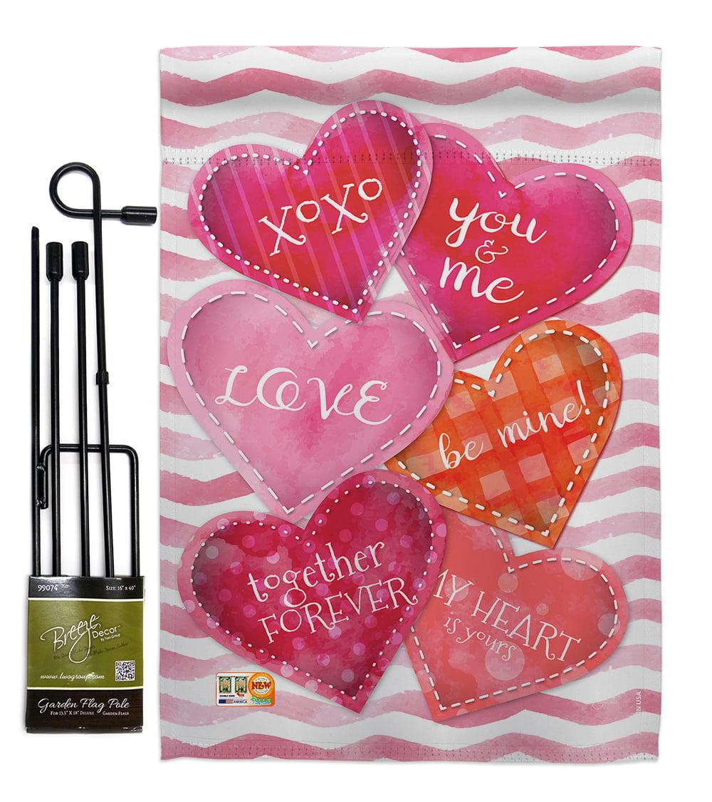 Love Together Forever Spring Valentines Impressions Decorative Vertical 13 X 18 5 Double Sided Garden Flag Set Metal Pole Hardware Walmart Com Walmart Com