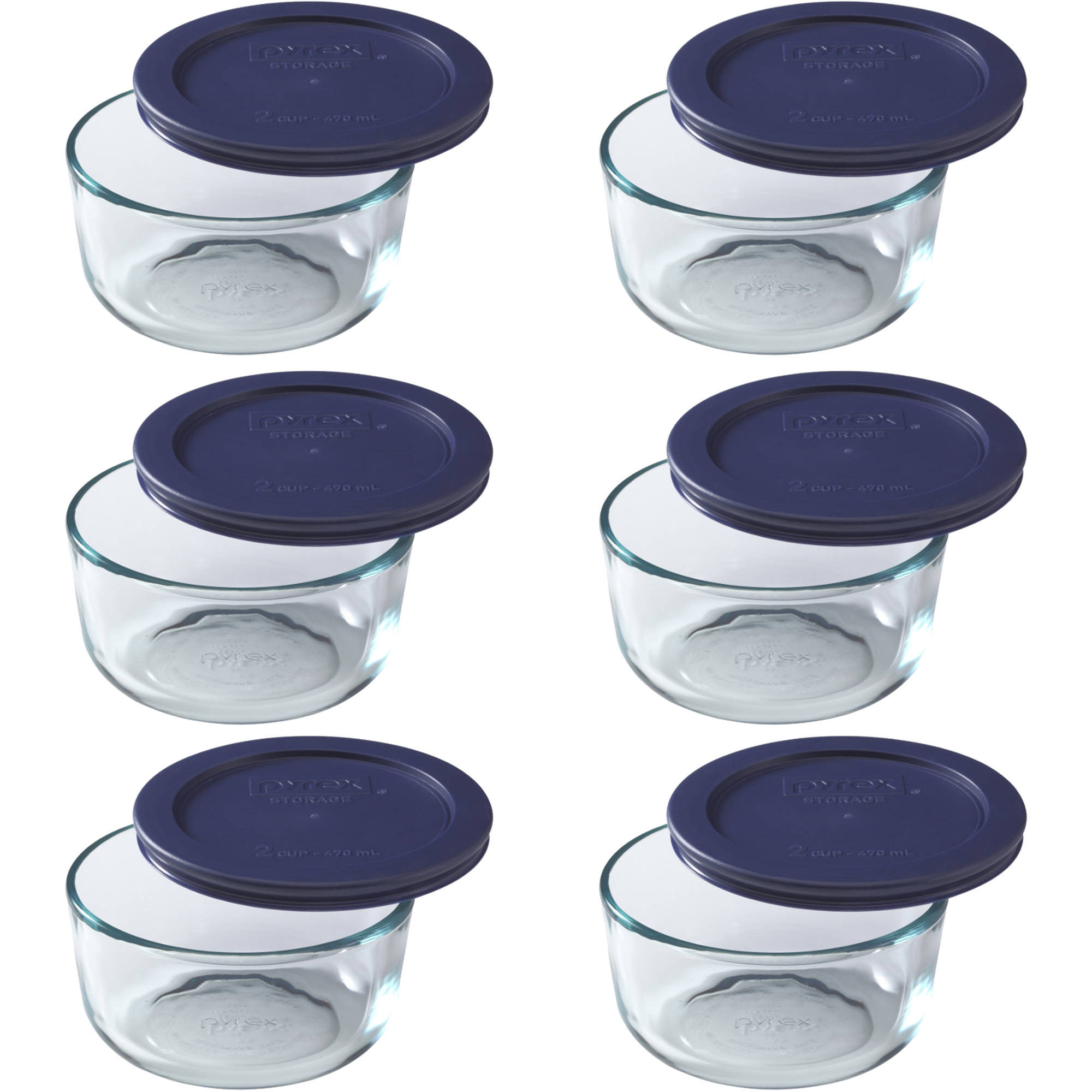 Pyrex 2-Cup Round Glass Storage Set with Dark Blue Plastic Cover, Set of 6