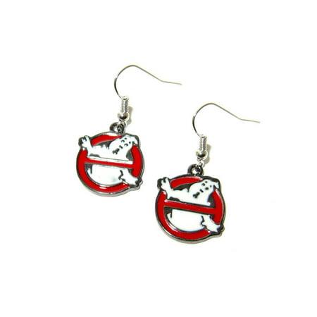 Dangle Earrings Ghostbusters Logo In Gift Box by Superheroes Primary Logo Earrings