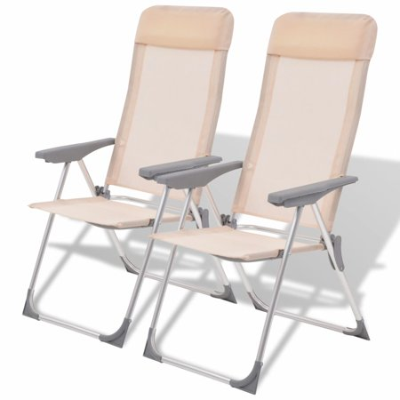 "22""x23.6""x44.1""Camping Chairs 2 pcs Cream Aluminum thumbnail"