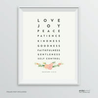 Love Joy Peace Patience Kindness, Galatians 5 22-23  Bible Verses Religious Wall Art, Coral Pink Floral Roses