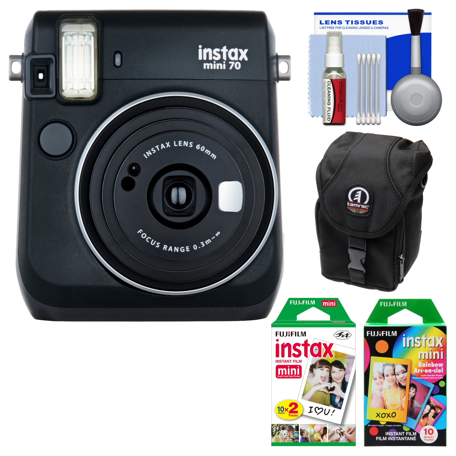 Fujifilm Instax Mini 70 Instant Film Camera (Midnight Black) with 20 Twin & 10 Rainbow Prints   Case   Kit