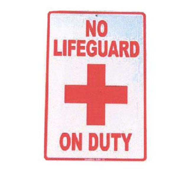 Seaweed Surf Co SF3 12X18 Aluminum Sign No Lifeguard On Duty