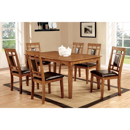 Furniture of America Malvin 7-Piece Dining Set, Light (American Oak Base)