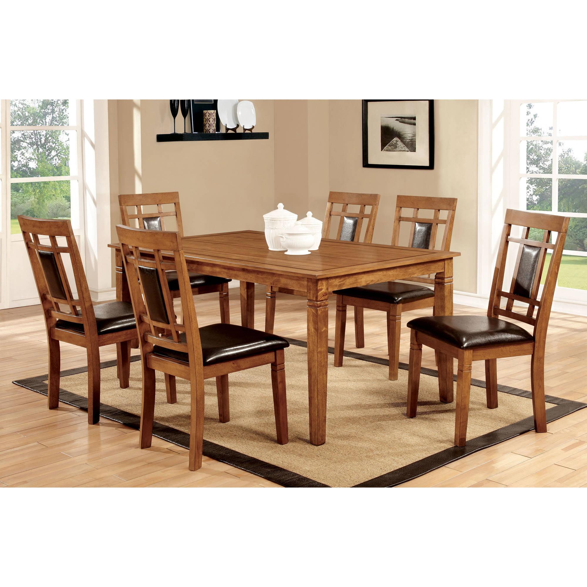 Furniture of America Malvin 7-Piece Dining Set, Light Oak