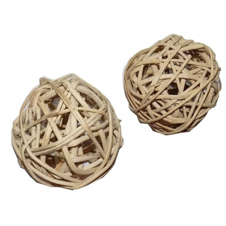 All Natural Large Vine Balls - Chew Toy For Rabbits, Guinea Pigs, Chinchillas, Birds, Gerbils, Hamsters, and Other Small Pets (Set of Two 4 Inch Wicker Balls) ()