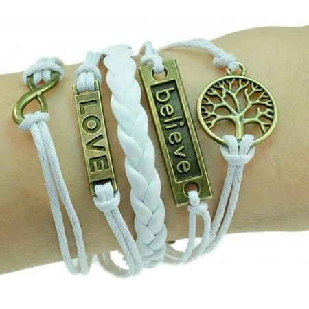 Fashion Jewelry vintage bronze tree infinity believe love white braided leather rope bracelet -09 Braided Leather Cord Bracelet